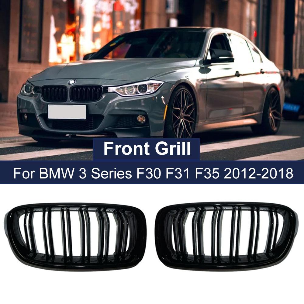 Автомобильная глянцевая черная решетка для переднего бампера для BMW 3-Series F30 F31 F35 2012-2018, спортивный гриль, Двойные решетки, решетки Kindey