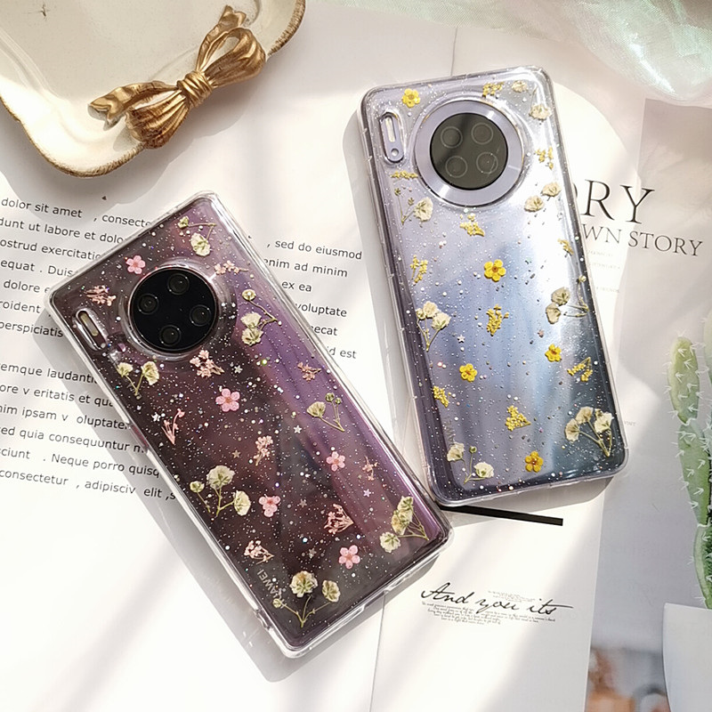 Dried Real Flower Case For Huawei Mate 30 Pro Mate30 Glitter Soft TPU Transparent Phone Case For Huawei Mate 20 Pro Cover Luxury