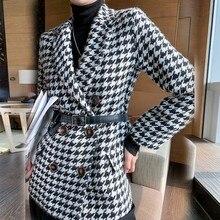 Jacket Coats-Suit Woolen-Coat Spring Autumntemperament New Houndstooth with Blet-Bag
