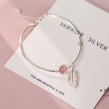 925 prata esterlina cristal redondo grânulo pena charme pulseira & pulseiras para festa de casamento feminino jóias sl261