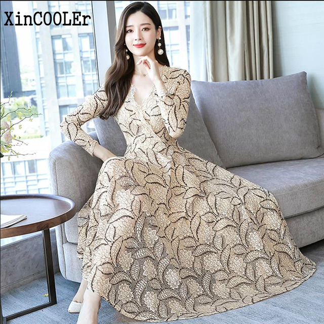 봄 레이스 패션 여성 드레스 2020 새로운 스타일 여름 v-목 및 짧은 소매 여성 작업 착용 슬림 우아한 기질 드레스