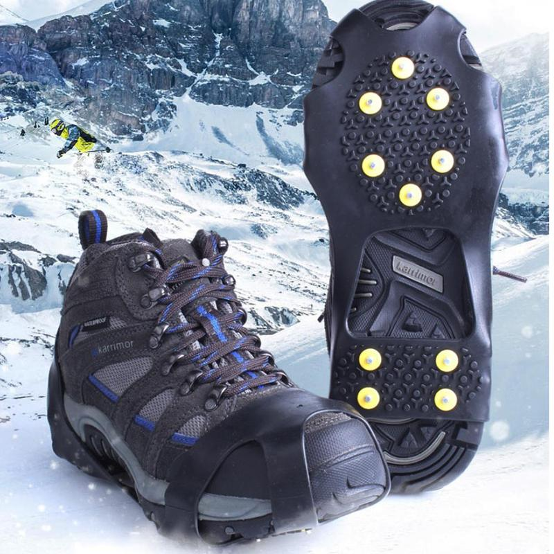 1Pairs Outdoor 10-Stud Universal Ice No Slip Snow Shoe Covers Fishing No Slip Winter Snow Climbing Crampons Ultra Light Crampons
