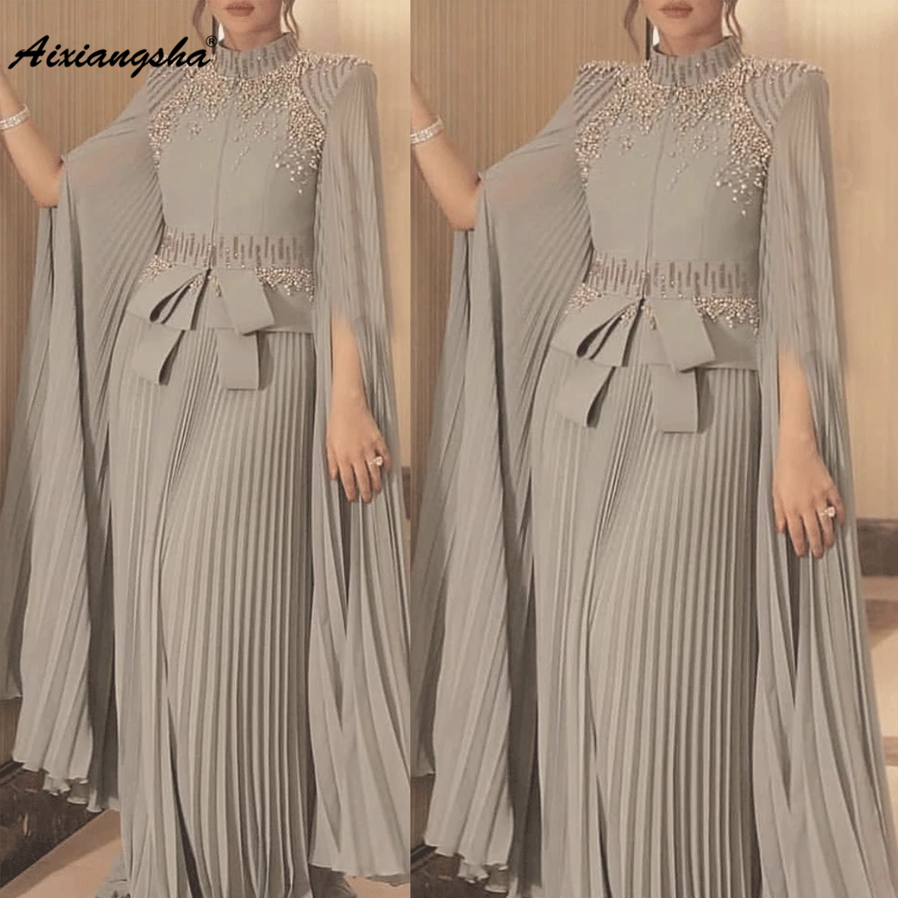 Dubai Caftan Silver Formal Evening Dress 2020 High Neck Arabic Beaded Elegant Chiffon Prom Dresses Prom Gown Muslim Caftan