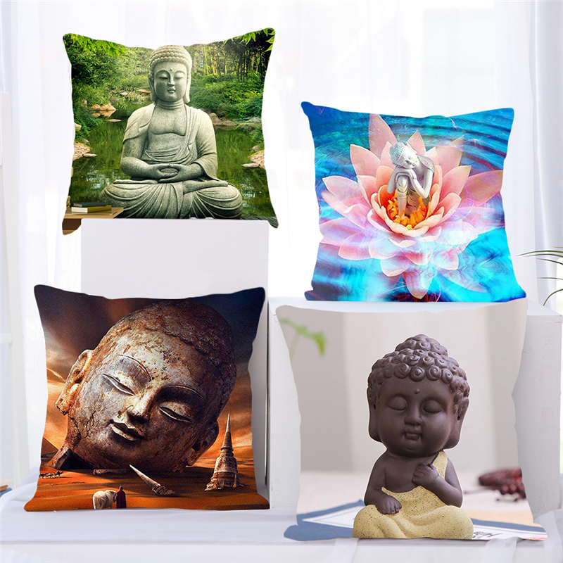 Fuwatacchi Buddhism Style Cushion Cover Buddha Statue Printed Throw Pillows Cover For Home Sofa Chair Decorative Pillows 45*45cm