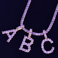 Purple Zircon Tennis Letters Necklaces & Pendant For Men/Women Gold Silver Fashion Hip Hop Jewelry with 4mm Tennis Chain