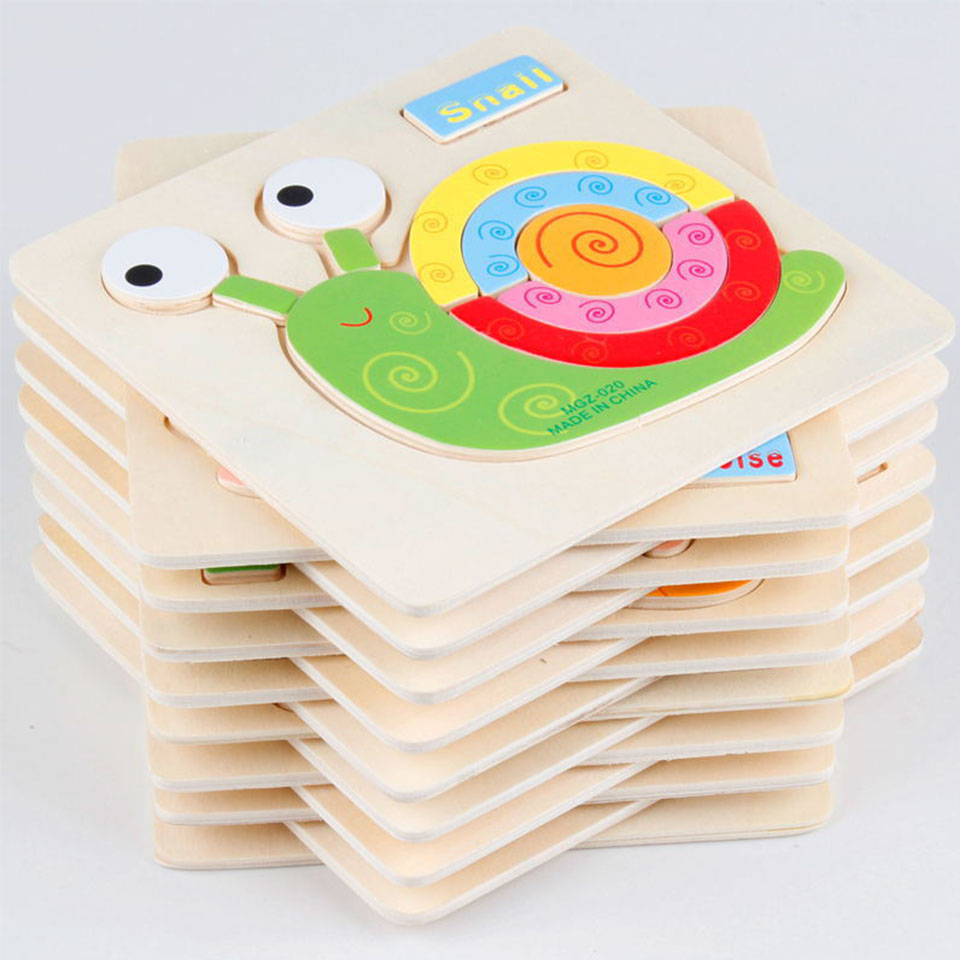 4PCS Kids Animals 3D Puzzle Wooden Educational Toys Games For Children GiftsLearning & Education 24 Patterns Puzzles Toy WJ302