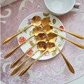 8 шт./компл., Золотая ложка с длинной ручкой в форме цветов, десертная ложка из нержавеющей стали для смешивания чая и кофе, винтажные чайные л...