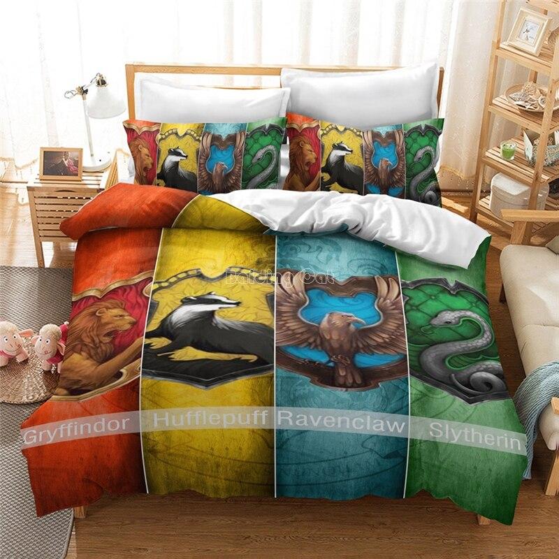 Magic School Gryffindor Ravenclaw Slytherin Hufflepuff Bedding Set Children Cartoon Duvet Cover Sets Pillowcases Twin Queen King