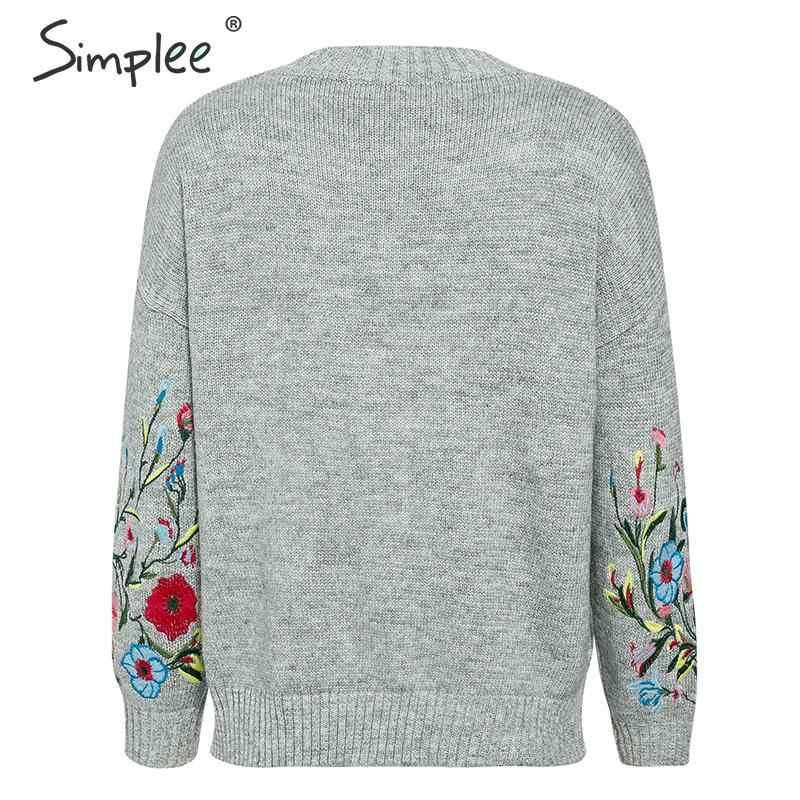 Simplee женский пуловер свитер вышивке осень зима  джемпер с длинным рукавом повседневная женская  пуловер 2019