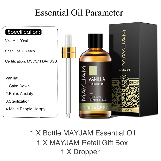 10ml 30ml 100ml Vanilla Essential Oil Diffuser Aroma Oil with Dropper Pure Natural Essential Oils for Humidifier Relief Migraine 2