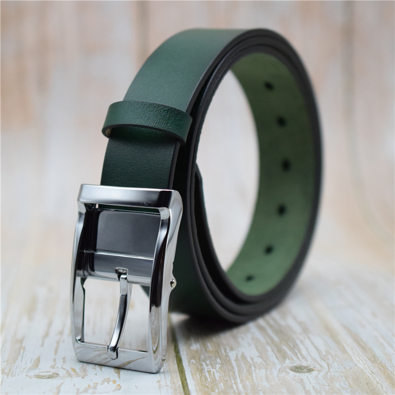 Cowhide Genuine Leather Belt Men/women Blue 3.2CM Width Female/male Leather Strap Belt for Men/women Alloy Pin Buckle Belts 2021