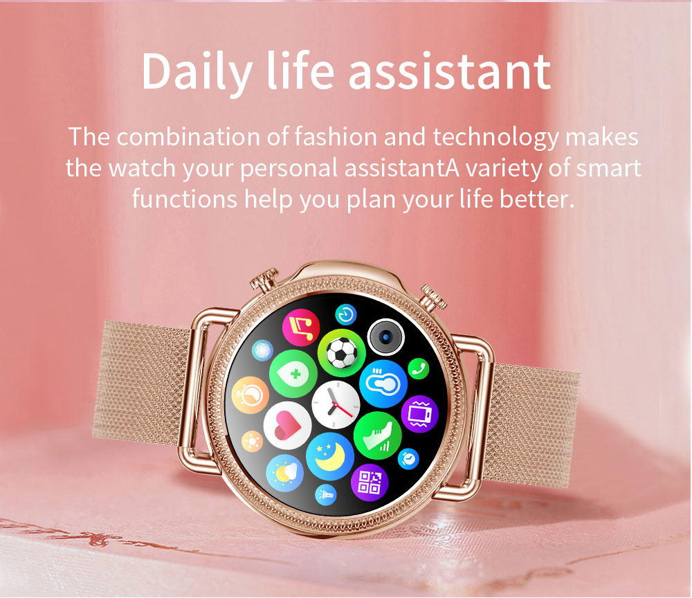 2021 Women Smart Watch 1.28 inch HD Screen IP67 Waterproof Lady's Watches Body Temperature Heart Rate Monitor PK V23