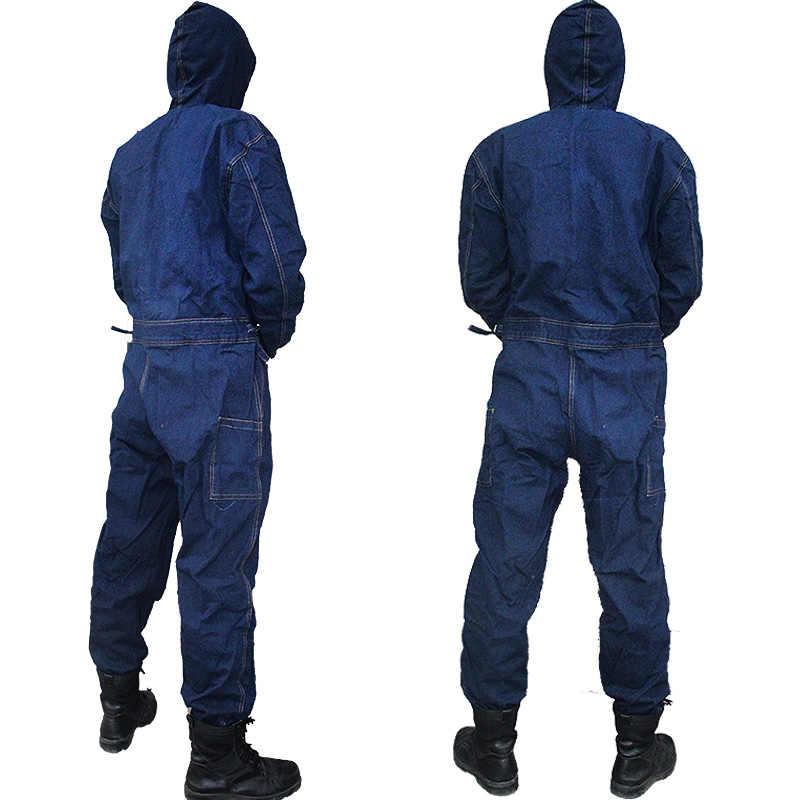 メンズオーバーオールデニム作業服フード付きカバーオールプラスサイズ労働オーバーオール労働者機溶接自動絵画