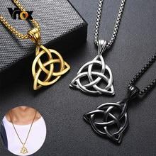 Vnox-collares de nudo celta vikingo para hombre, triples colgantes de nudos de acero inoxidable, joyería informal para hombre con caja de 24