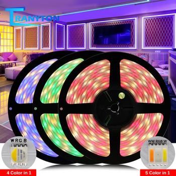 Taśma LED 4w1 5w1 5050 DC12V 24V RGBW RGBWW RGBCCT elastyczna dioda LED 5m 300LEDs RGB + biała + ciepła biała taśma LED tanie i dobre opinie TRANYTON CN (pochodzenie) ROHS SALON 50000 PRZEŁĄCZNIK Other Epistar RGBW RGBWW 12 v Smd5050 4 in 1 RGBW LED Strip 30 60 pcs m