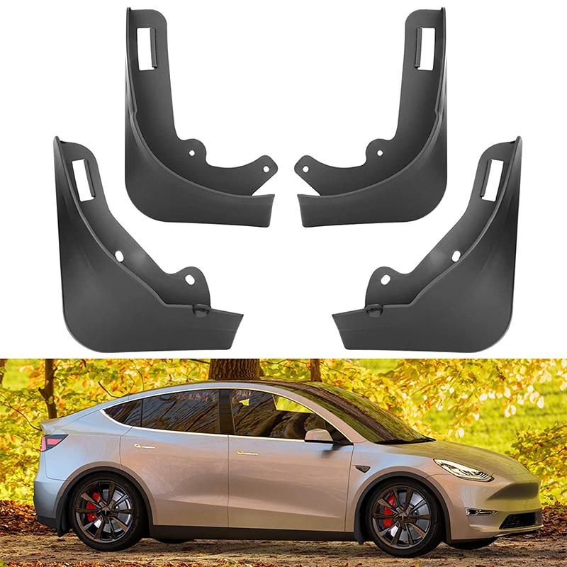 4 предмета в комплекте, для Tesla модели Y 2021 ABS Передние и задние брызговики брызговик крыло брызговики без сверления Требуется автомобильные ...