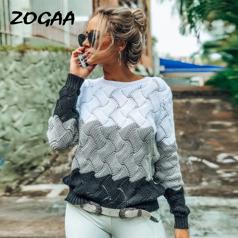 ZOGAA 2019 Women Winter Long Sleeve Crewneck Knitted Pullover Sweater Vintage Splice Autumn Ladies Pullover Jumper Mit Streifen