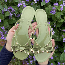 Rivets Bowknot Sandals Summer Woman Beach Flip Flops Jelly Shoes PVC Slides Girls Sandals Slip on Flat with Women Studs Slippers new peep toe women flats shoes causal beach bow tie jelly woman summer flip flops slippers slip on women sandals
