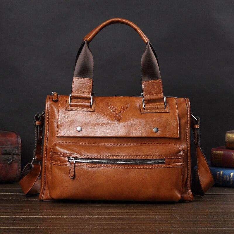 Men's Bag Leather Large Capacity Handbag Business Casual Leather Briefcase Men 14 Laptop Shoulder Messenger Bag Computer Bag