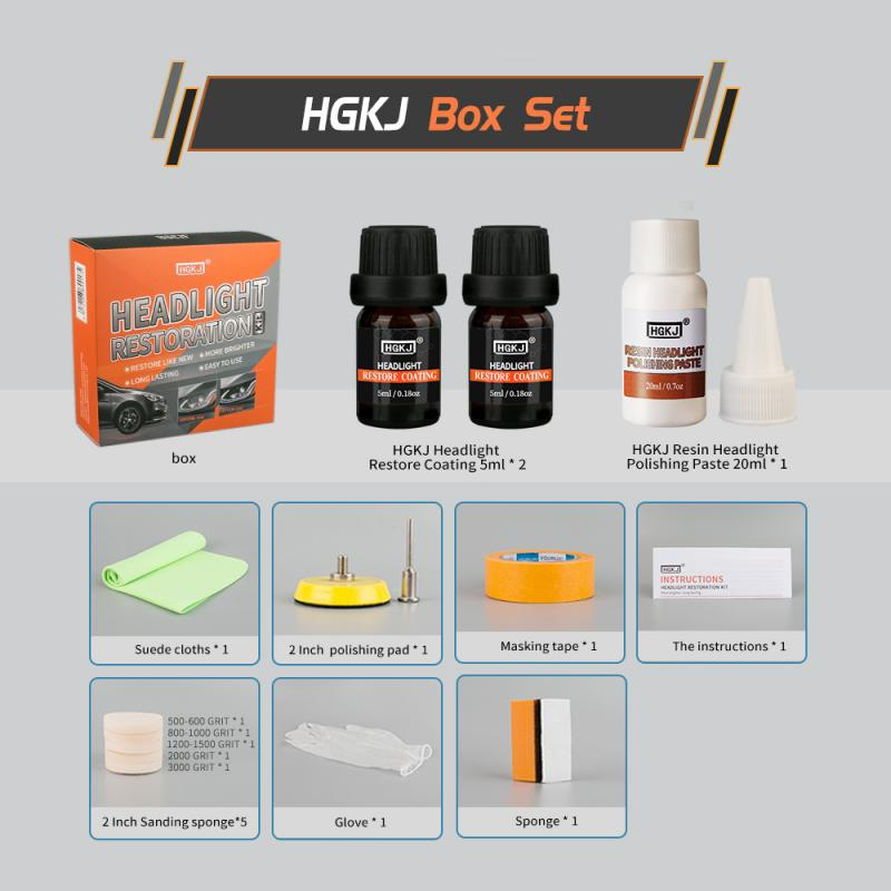 Car Headlight Restoration HGKJ Cleaner Kit Care Wash Head Lamp Brightener Repair Paint Care  Headlight Polishing Fluid  TSLM1