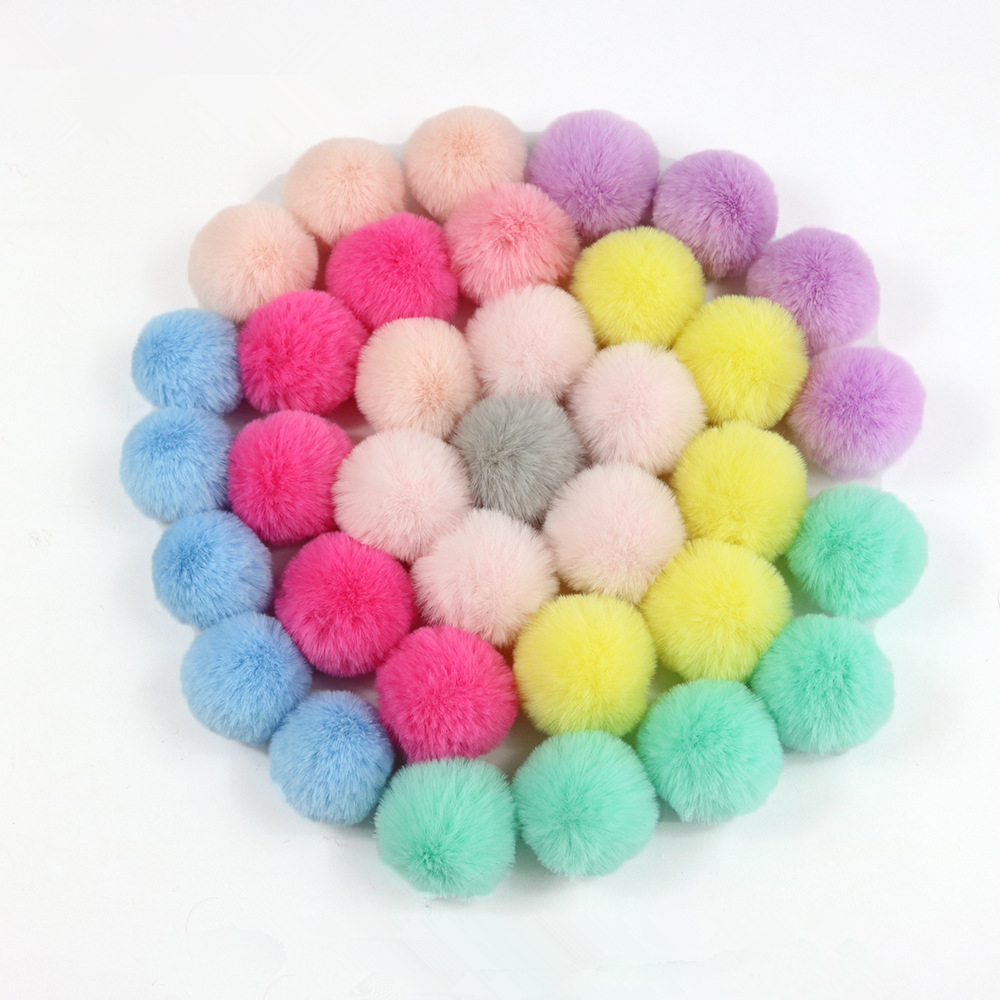 Wholesale 10PCS DIY Custom Multicolor Faux Fur Pompom Hair Ball 5CM Small Pompon Rubber Band Hats Clothing Accessories