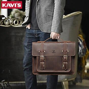 KAVIS New Men Leather Coffee Briefcase Business Handbag Messenger Bags Male Vintage Shoulder Bag Men's Laptop Travel Bags Hot