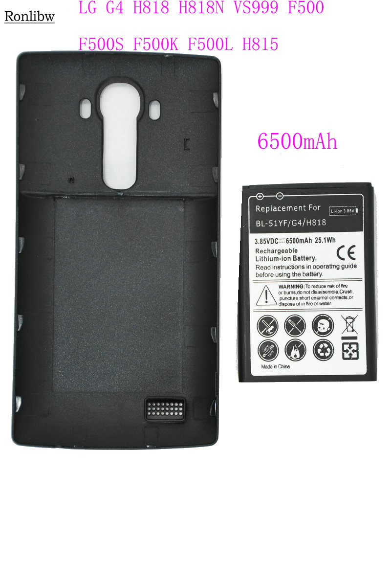Ronlibw 6500mAh BL-51YF Extended Battery Black Cover Case For LG G4 H818/N VS999 F500 F500S F500K F500L H815 H810