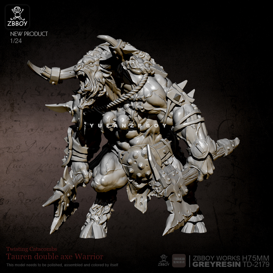 75mm Resin Figure Kits Minotaur Double-axe Warrior Resin Model Self-assembled TD-2179