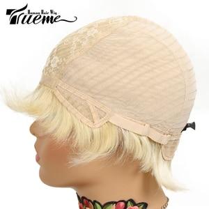 Image 4 - Trueme Brazilian Remy Short Bob Human Hair Wigs For Black Women Blonde Wigs 613 Ombre Short Straight Human Hair Full Wigs