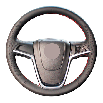 Hand-stitched Black Genuine Leather Anti-slip Car Steering Wheel Cover for Opel Astra (J) 2010-2015 Ampera 2012-2015 Meriva