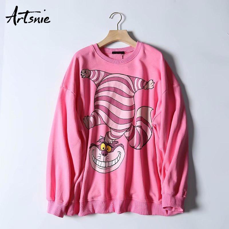 Artsnie Autumn 2019 Cartoon Print Women Sweatshirt O Neck Long Sleeve Hoodies Pullover Knitted Streetwear Casual Sweatshirts
