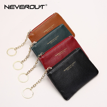 NEVEROUT Fashion Good Quality Genuine Leather Coin Purse Black Card Holder Handmade Cowhide Mini Zipper Bag Free Shipping