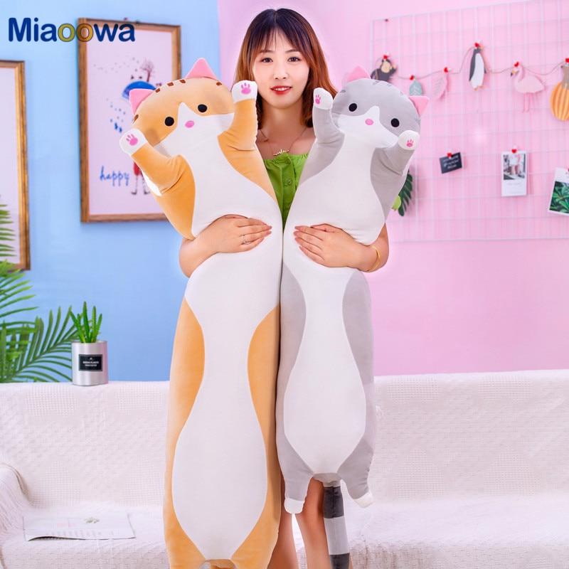 130cm Cute Soft Long Cat Pillow Plush Toys Stuffed Pause Office Nap Pillow Bed Sleep Pillow Home Decor Gift Doll for Kids Girl