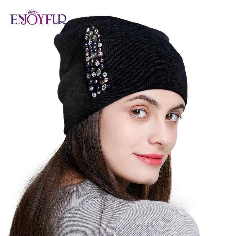 قبعات شتوية من enjoyfurللنساء من الصوف المحبوك قبعات دافئة للسيدات على الموضة بأحجار الراين قبعة على شكل جمجمة