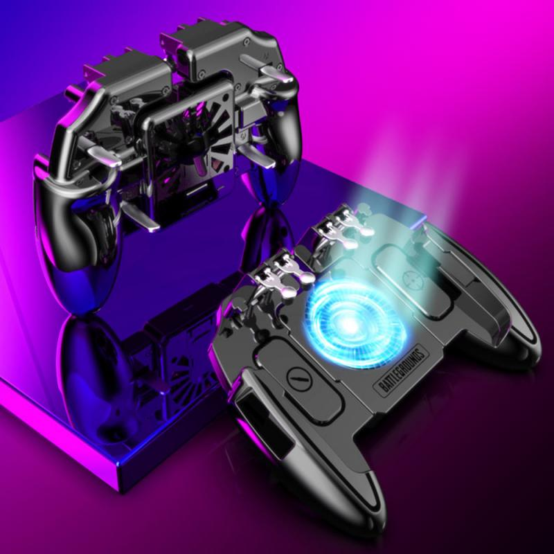 PUBG Mobile Joystick Controller Turnover Button Gamepad for PUBG iOS Android Six 6 Finger Operating Gamepad With Cooling Fan 3