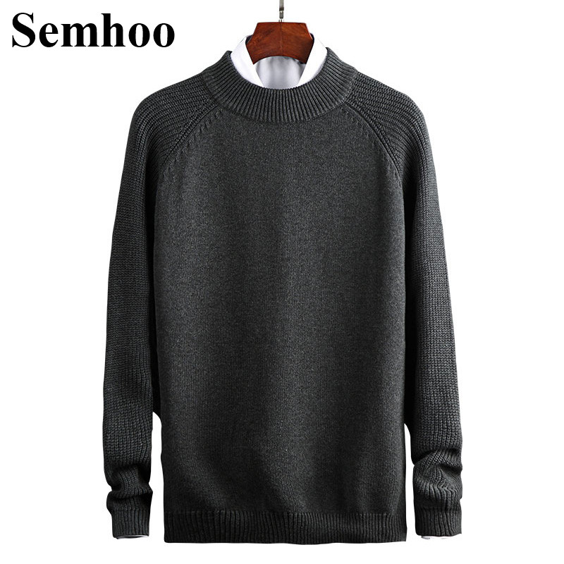 Mens Sweaters For 2019 New Thick Pure Cotton O-neck Knitted Pullover Casual Warm Solid Color Drop Shoulder Winter Men Sweater