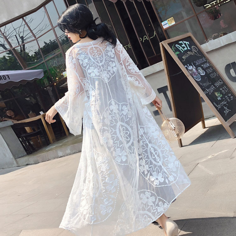 Sun Blocking Clothing Women's Korean-style Mid-length Shawl Lace Gauze Seaside Holiday Air Conditioner Cardigan Tops Women's