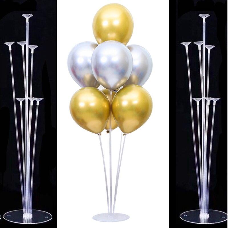 7 tubos Titular Estande Balão Balão Coluna Vara Balão para Festa de Aniversário de Casamento Decoração de Balões Balão de Plástico Suporte