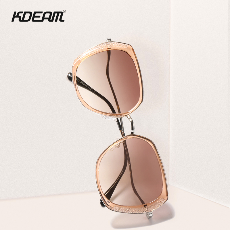 KDEAM For Lady Butterfly Polarized Sunglasses Women Pink Diamond Oversized Sun Glasses With Twisted Legs Gafas De Sol Feminino