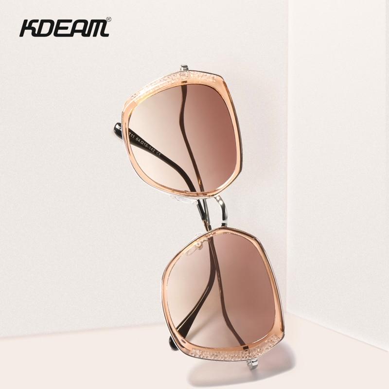 KDEAM For Lady Butterfly Polarized Sunglasses Women Pink Diamond Oversized Sun Glasses With Twisted Legs Gafas De Sol Feminino