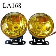 2 sztuk Car Styling 12V 55W światło przeciwmgielne samochodu lampa do pracy lampy okrągłe światła boczne samochodu światło cofania symfonia żółty akcesoria samochodowe