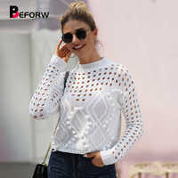 BEFORW 2019 New Winter Sexy O Neck Hollow Sweater Pullover Fall Vintage Knitted Long Sleeve White Black Womens Sweaters Casual