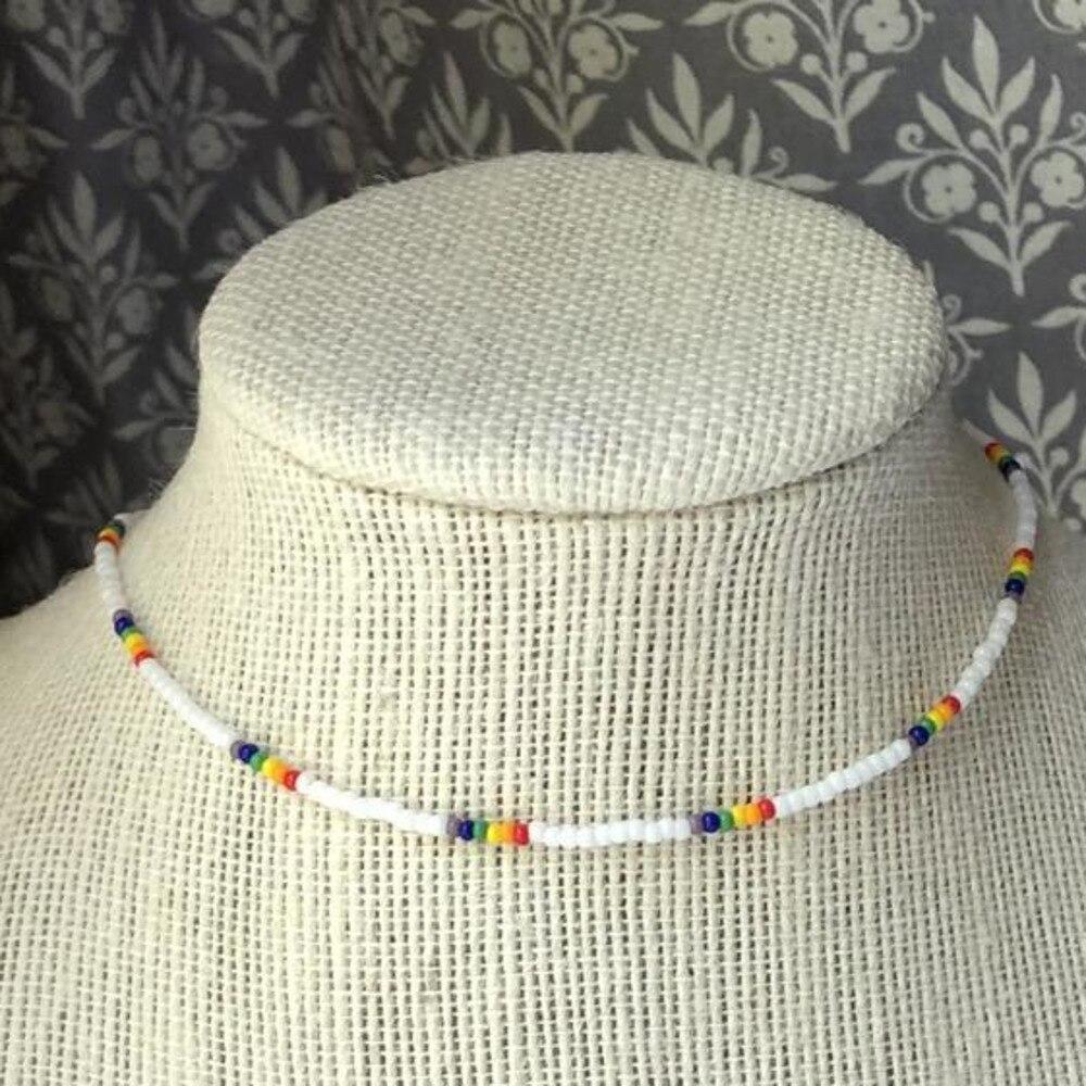 Perline di semi semplici collana di fili collana da donna con perline corte collana girocollo gioielli girocolli collana regalo 1 pz 2