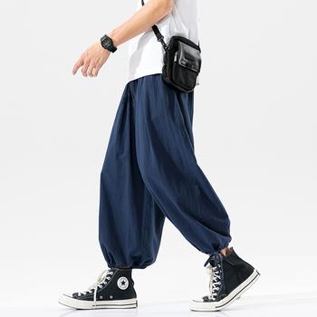 2021 nowych mężczyzna Wied spodnie nogi solidna kolorowa bawełniana męskie spodnie Casual Vintage spodnie dresowe dla joggerów ponadgabarytowych spodnie męskie 5XL tanie i dobre opinie HEWITTISD Cztery pory roku Spodnie typu Harem CN (pochodzenie) COTTON Daily Mieszkanie Z KIESZENIAMI LOOSE Pełna długość