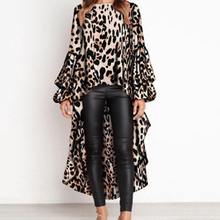 Fashion Women IIrregular Blouse Casual Leopard Chiffon Blouses Autumn Long Sleeve Tops Streetwear