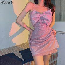 Woherb-minivestido con tirantes finos para mujer, Sexy, para fiesta y Club, ajustado, con brillo, estilo coreano, Elegante, 2021
