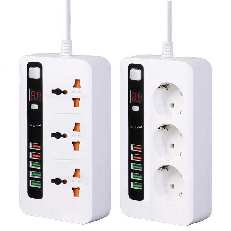 Power Strip Surge Protector 3 Eu Plug Outlets Elektrische Socket Met Usb 5 Poorten Charger Adapter Dock 5V 3.4A 2M Verlengsnoer