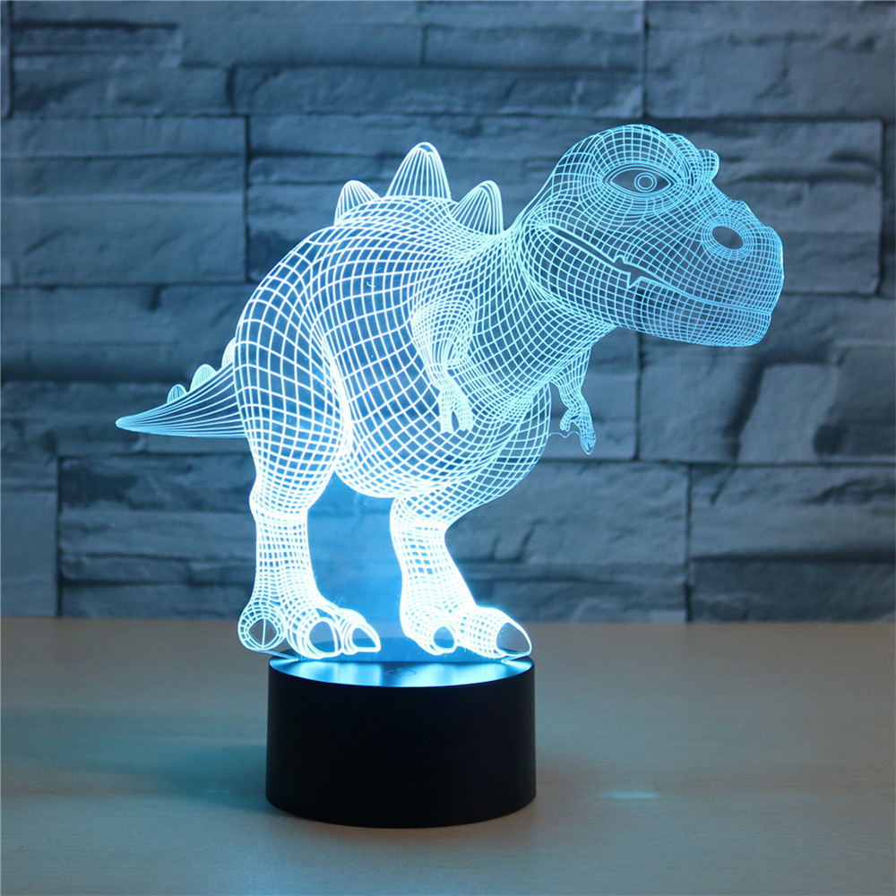 Dinosaur Colorful 3D Creative Touch Remote Control Table Lamp Energy-saving LED Illusion Lamp Holiday Lantern