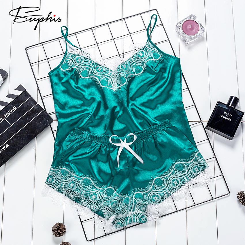 Suphis Emerald Green Vintage Eyelash Lace Flowers Sleepwear Female Spaghetti Strap Top Shorts Solid Satin Women Pajamas Set