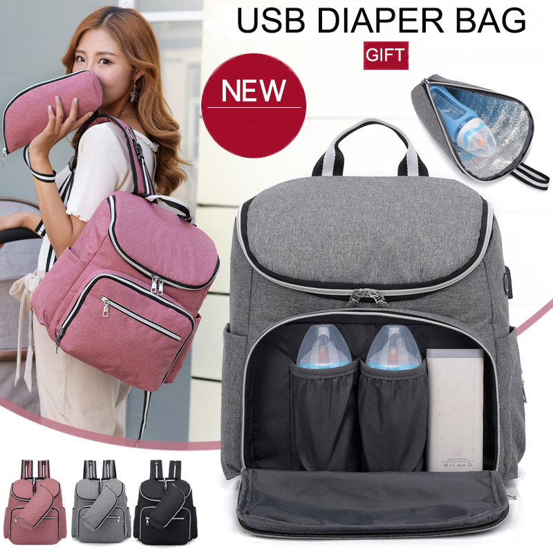 USB Diaper Bag Mom Mummy Nursing Bag Large Storage Baby Care Backpack Travel Backpack Nappy Stroller Bag Pregnant Bag